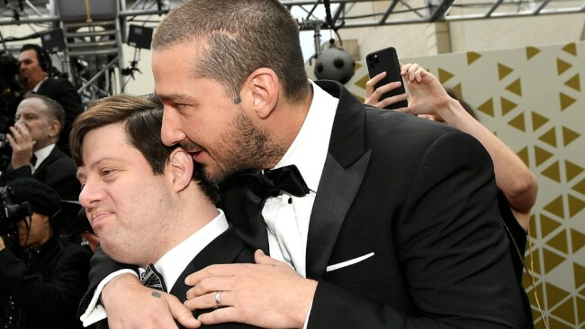 Shia LaBeouf (R) and Zack Gottsagen attend the 92nd Annual Academy Awards at Hollywood and Highland on February 09, 2020 in Hollywood, California. (Photo by Kevork Djansezian/Getty Images)
