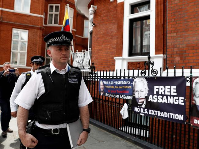 British police officers stand on duty outside the Embassy of Ecuador in London after the embassy handed over Julian Assange's belongings. Picture: AFP