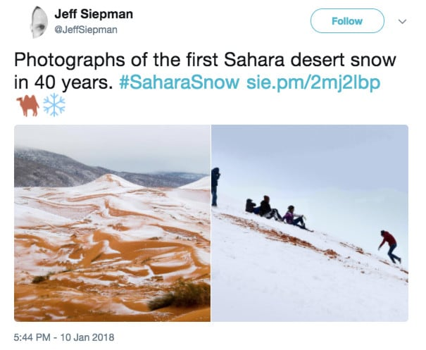 The most amazing photos of the snow in the Sahara desert