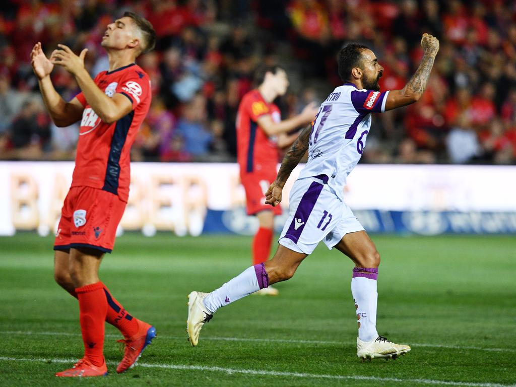 Diego Castro of Perth Glory  celebrates after during the Round 22 A League match between Adelaide United and Perth Glory at Coopers Stadium in Adelaide, Friday, March 15, 2019. (AAP Image/David Mariuz) NO ARCHIVING, EDITORIAL USE ONLY