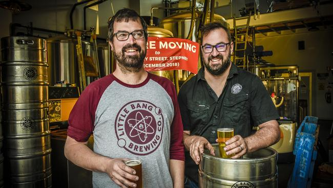 Little Bang Brewery Company owners Ryan Davidson and Filip Kemp. The brewery took out Best Pub/Bar for the second year in a row. Image: AAP/Roy VanDerVegt.
