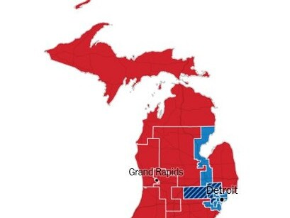 The division of Michigan by congressional district vote yesterday. Source: New York Times