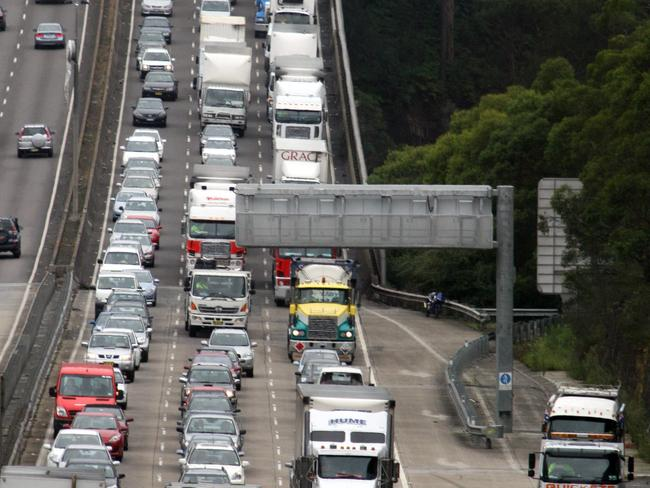 Traffic jams like this are a regular nightmare for people squeezed out of Sydney and living on the Central Coast.