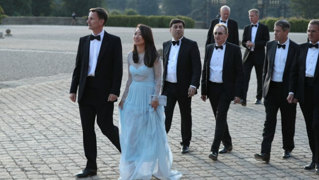Mr Hunt and his wife Lucia at their wedding. Image: Getty,