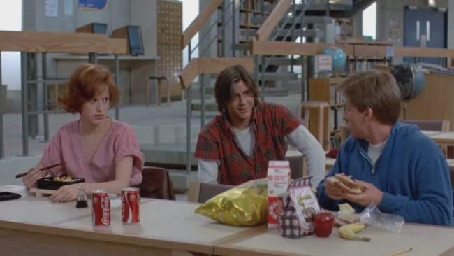 Claire and Bender in detention in 'The Breakfast Club'. Photo: 'The Breakfast Club'