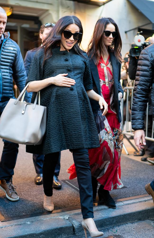 Meghan with close friend Abigail Spencer in NYC for the baby shower. Picture: Gotham/GC Images