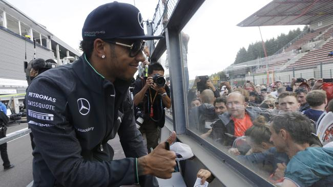 Hamilton could still raise a smile for his fans after the race.