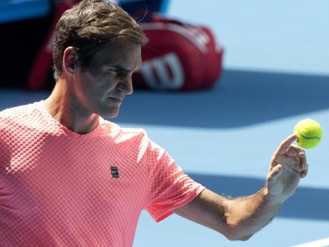 Roger Federer during practice ahead of the Australian Open.