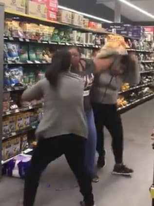 Women fighting over toilet paper rolls in Woolworths Chullora as the coronavirus craziness hits new levels. Picture: Twitter