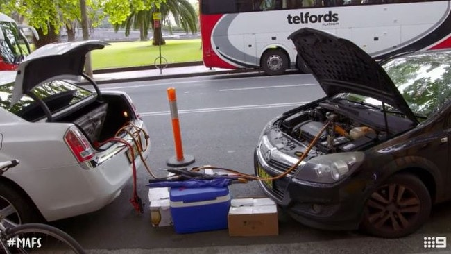 A Holden Astra attempts to jump-start MAFS episode 17.