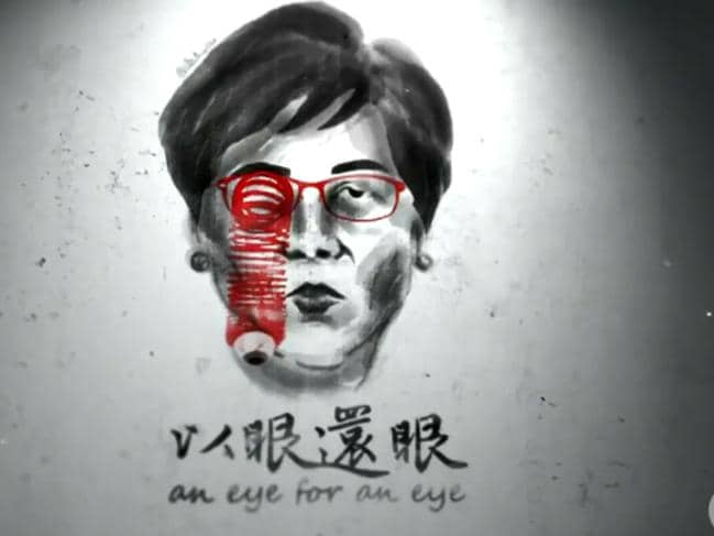 One of Baduciao's political artworks depicting Hong Kong chief executive Carrie Lam. Picture: Channel 10