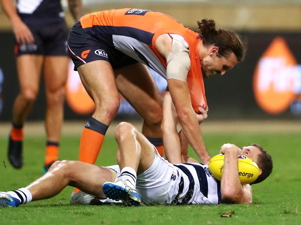 Phil Davis and Joel Selwood got to know each other a little better. Picture: Cameron Spencer