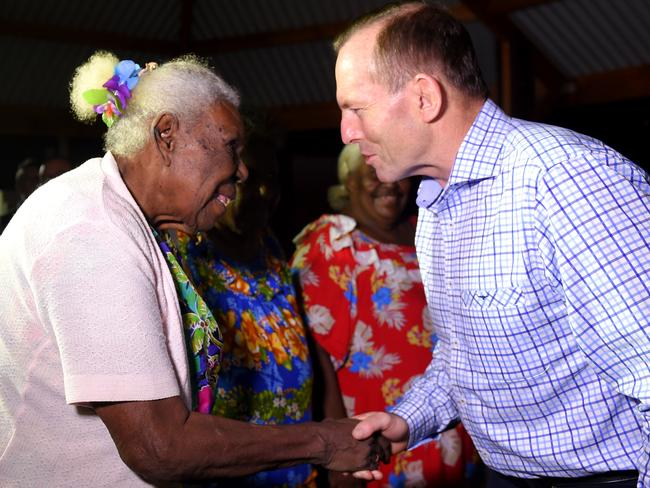 The Prime Minister is greeted by Kaurareg elder Ipiligal Alice Tom as he arrives on Horn Island in the Torres Strai. Picture: AAP / Tracey Nearmy