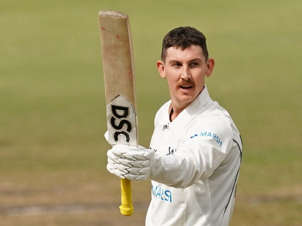 Nic Maddinson of Victoria celebrates after reaching his double century during day two of the Marsh Sheffield Shield cricket match between Victoria and South Australia at the CitiPower Centre in Melbourne, Friday, October 11, 2019. (AAP Image/Scott Barbour) NO ARCHIVING, EDITORIAL USE ONLY, IMAGES TO BE USED FOR NEWS REPORTING PURPOSES ONLY, NO COMMERCIAL USE WHATSOEVER, NO USE IN BOOKS WITHOUT PRIOR WRITTEN CONSENT FROM AAP
