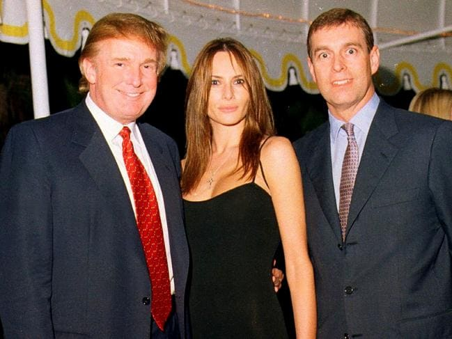 The whole gang's here! Donald Trump, Melania Trump and Prince Andrew at the Mar-a-Lago estate, Palm Beach, Florida. Picture: Davidoff Studios/Getty Images