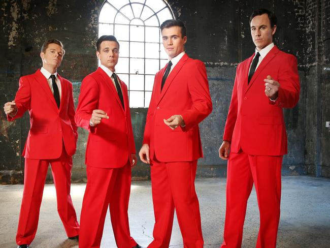 Cameron Macdonald, Thomas McGuane, Bernard Angel and Glaston Toft. They will be starring in the upcoming Australian production of Jersey Boys. Picture: Richard Dobson