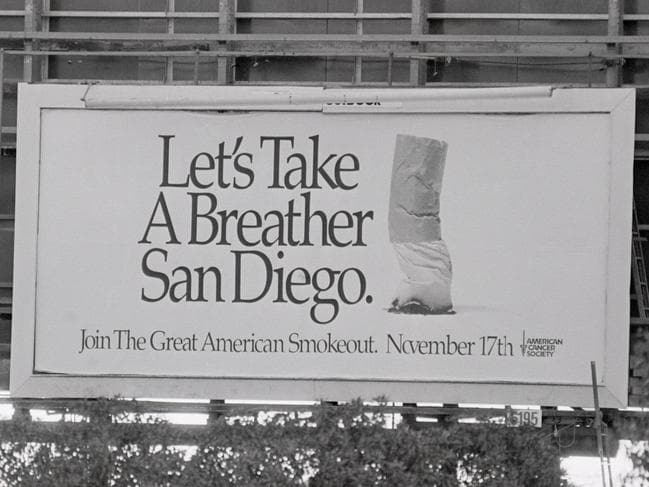 "Motorists on a Californian highway got a two-sided message from the same billboard in the 80s, depending on which direction they travelled. Shown here is the Cancer Society ad seen by westbound drivers on the day of the ""Great American Smokeout."" Eastbound drivers saw a cigarette ad."