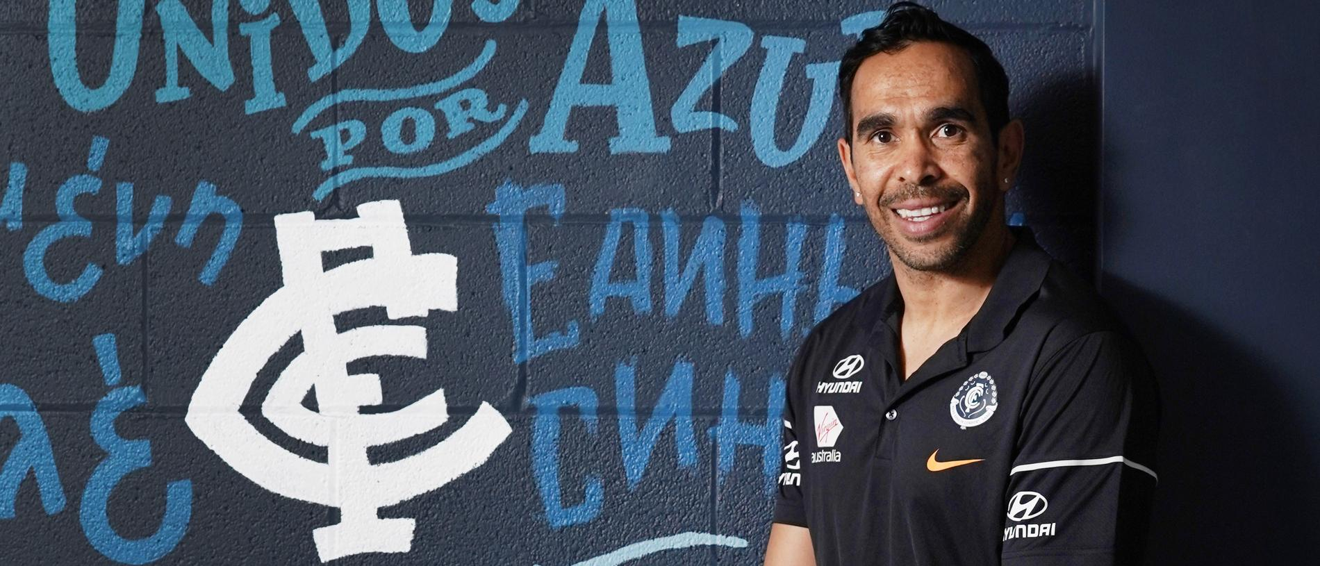 Eddie Betts poses during a Carlton Blues press conference in Melbourne, Monday, October 14, 2019. Betts, previously with the Adelaide Crows, has signed a one year contract until the end of 2020. (AAP Image/Michael Dodge) NO ARCHIVING