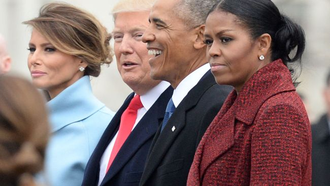 L-R: First Lady Melania Trump, President Donald Trump, former President Barack Obama, Michelle Obama at the US Capitol after inauguration ceremonies. Picture: Getty Source: Getty