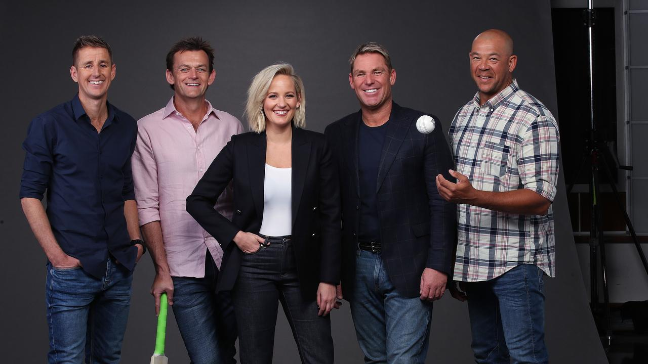Fox Cricket commentators Jessica Yates with Adam Gilchrist, Shane Warne, and their new signings for the summer of cricket Mark Howard and Andrew Symonds.