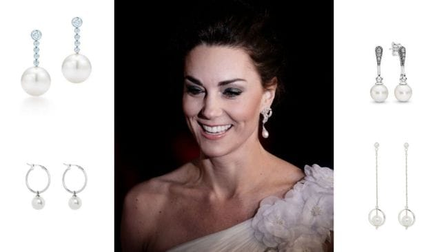 Kate at the BAFTAs, rocking her mother-in-law's earrings. Image: Getty