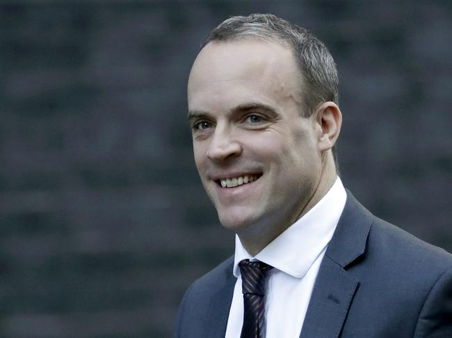 Out … the Brexit Secretary Dominic Raab. Picture: AP