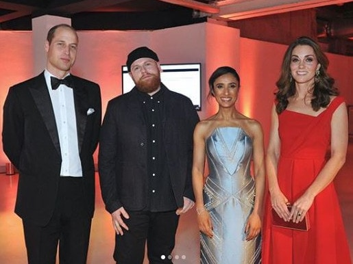 UK singer Tom Walker with the Duke and Duchess of Cambridge, William and Catherine. Picture: Tom Walker/ Instagram