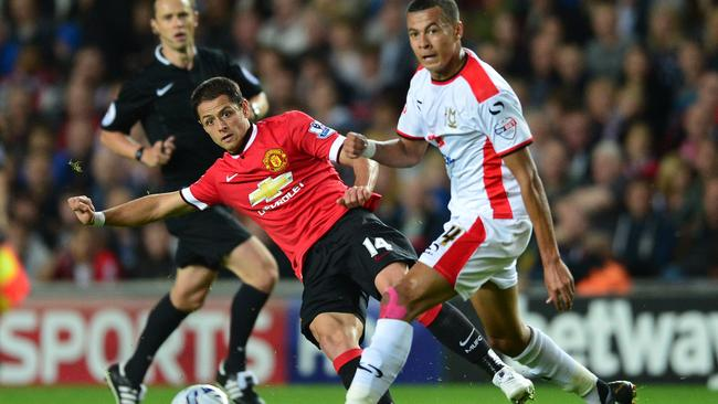 Manchester United striker Javier Hernandez endured a frustrating evening.