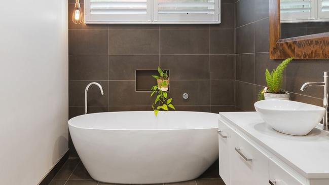 Luxury awaits at the updated main bathroom at 39 Belle Vue Ave, Highton. For GA Real Estate.