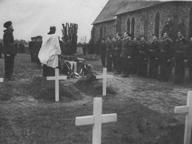 Flt-Sgt Ron Middleton's graveside service in England was conducted by Chaplain H. Thrush of the RAAF and formerly of Prospect, South Australia.
