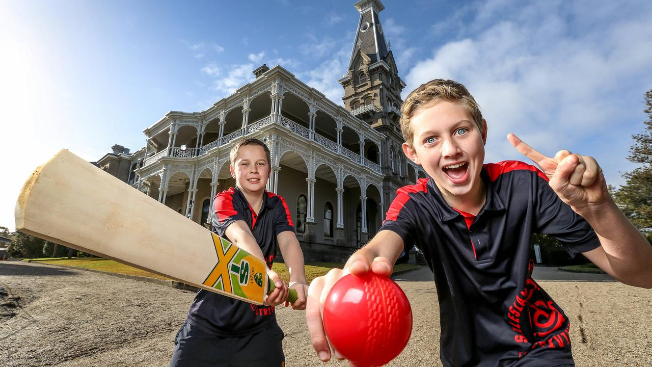 Junior cricketers Jack and Archie having a hit in front of Rupertswood Mansion at Sunbury, Victoria, where the urn was first presented. Rupertswood is now part of a school called Salesian College. Picture: Tim Carrafa