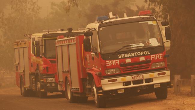 Fire trucks in Buchan. Picture: David Crosling