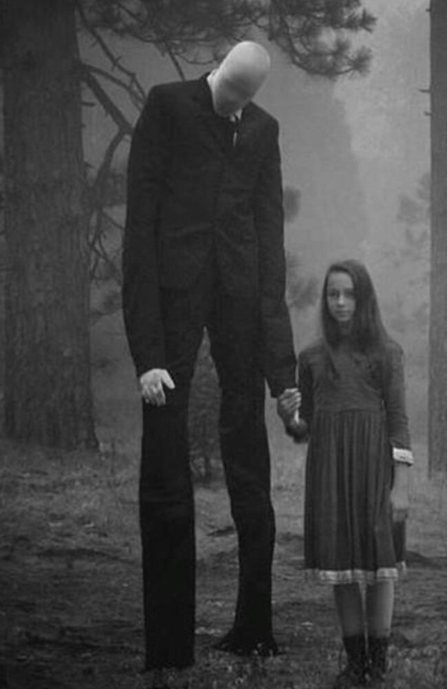 Cult figure ... Slenderman (aka stickman) in a mocked-up picture. Picture: Imgur