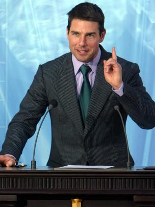 Tom Cruise at a Scientology inauguration in Madrid, 2004.
