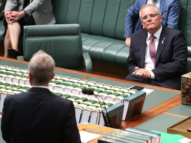 Opposition Leader Bill Shorten and PM Scott Morrison face off in parliament this week. Picture: Kym Smith