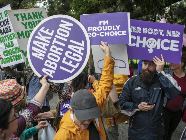 Pro-choice activists seen during a rally ahead of the Queensland vote. Picture: Glenn Hunt/AAP