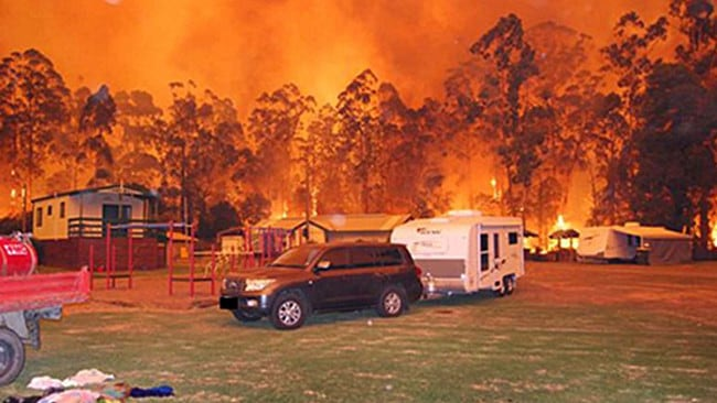 Photograph from firefighter Matt Ahern who spent Black Saturday saving the Glen Cromie Caravan Park in Drouin.