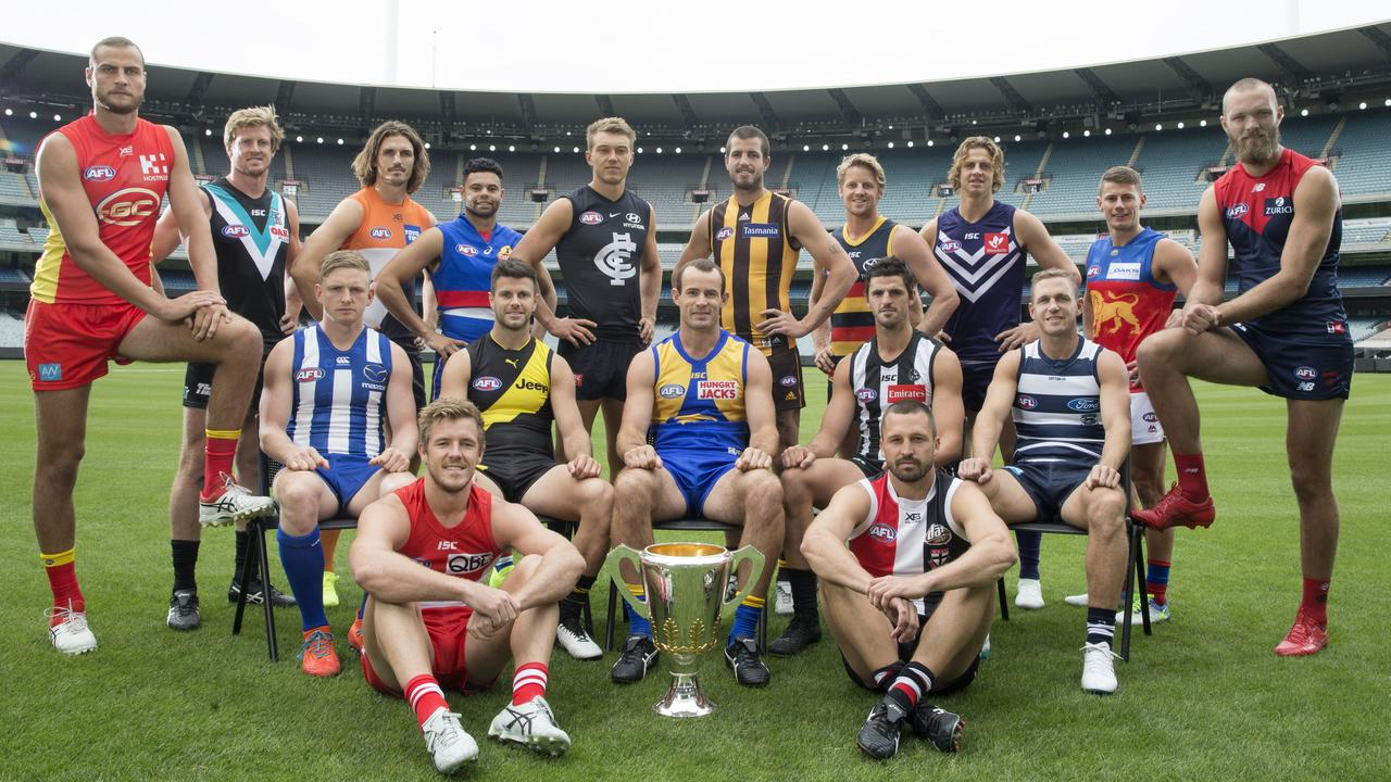 AFL Captains Day at the MCG … with several captains missing. Picture: Michael Klein