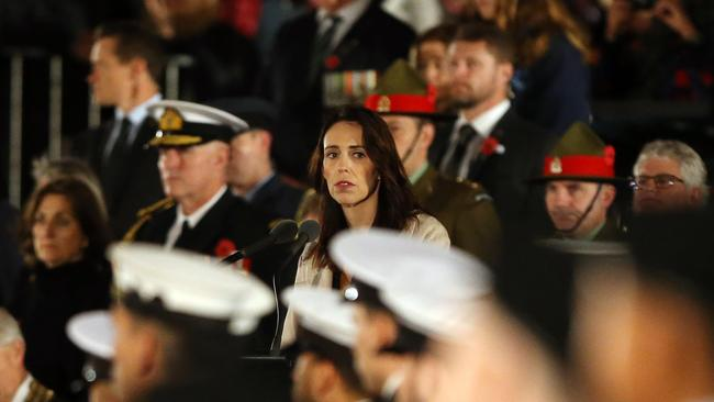 New Zealand Prime Minister Jacinda Ardern attends the ANZAC Day Dawn Service at Auckland Museum on April 25, 2019 in Auckland, New Zealand.