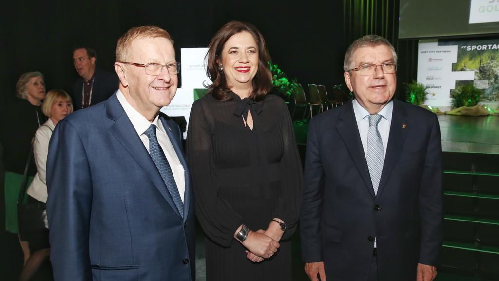 Queensland Premier Annastacia Palaszczuk with IOC President Thomas Bach and Australian Olympic chief John Coates, a guest speaker at the Future Tourism lunch.