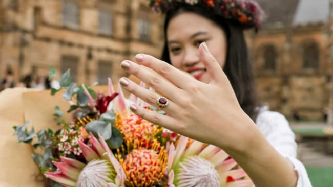 Complete with a professional photographer and ring, there wasn't much about her wedding that wasn't 'real'. Image: Supplied / MLVD Creative Digitals.