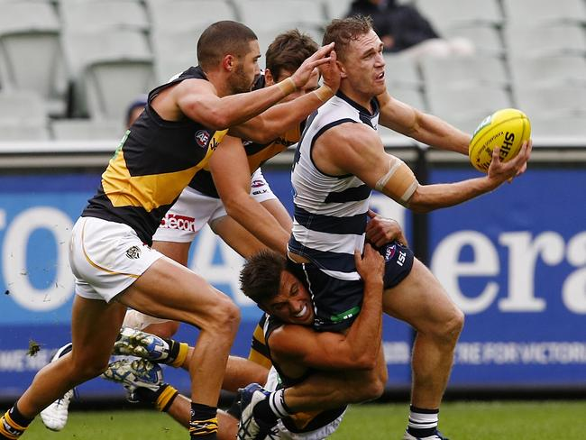 Geelong's Joel Selwood goes harder and lower at stoppages than most of his opponents. Picture: Michael Klein