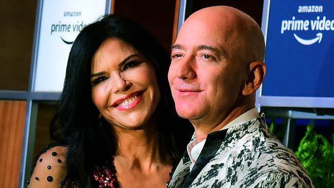 Bezos and girlfriend Lauren Sanchez in Mumbai on January 16. Picture: Sujit Jaiswal/AFP