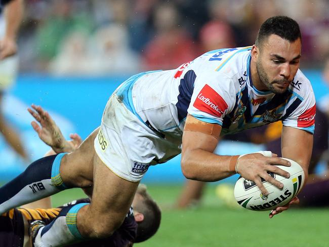 Ryan James scores a try.
