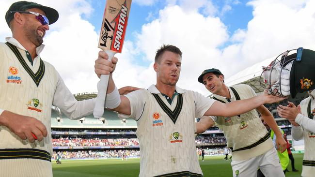 David Warner salutes the crowd after his 335*.