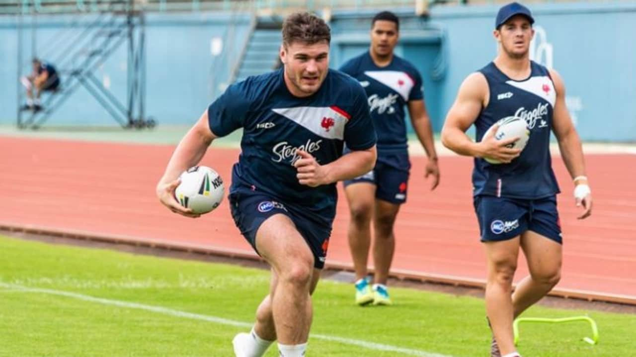 Angus Crichton at Roosters pre-season training. Photo: Sydney Roosters