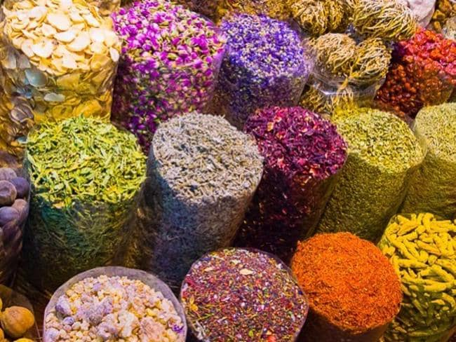 The spices in the Dubai souks are bright and the smell is insane.
