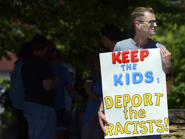 A protester at the site of a speech by US Attorney-General Jeff Sessions. Picture: AP