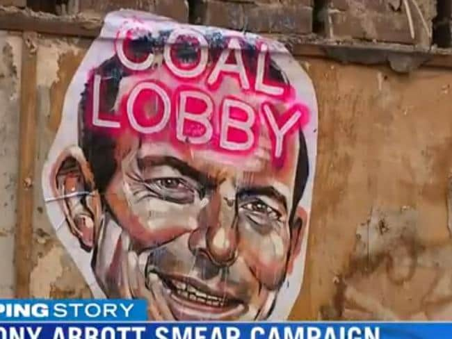 Another poster read 'coal lobby'. Source: 7 News