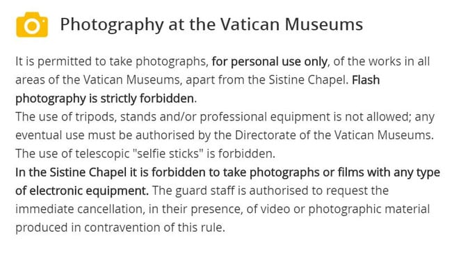 The Vatican Museums website lays down the law.